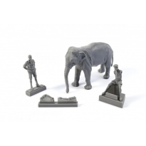 WWII RAF Mechanic in India+Elephant with Mahout (2 fig. + elephant) (1:48)
