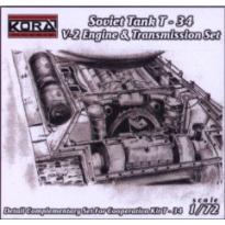 T-34 V-2 engine+transmission set  (1:72)