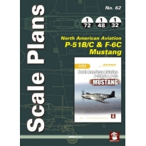 Scale Plans No.62 North Americaan Aviation P-51B/C & F-6C Mustang (1:72,1:48,1:32)