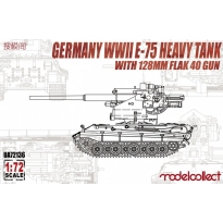 German WWII E-75 Heavy Tank with 128mm flak 40 gun (1:72)
