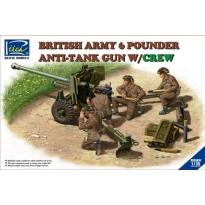 British Army 6 Pounder Infantry Anti-tank Gun w/Crews (4 figures) (1:35)
