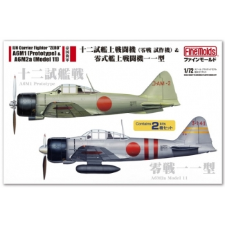 """IJN Carrier Fighter """"ZERO"""" A6M1 (Prototype) & A6M2a (Model 11) (Two kits in box) (1:72)"""