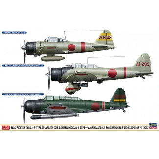 "Zero Fighter Type 21 & Type 99 Carrier Dive-Bomber Model 11 & Type 97 Carrier Attack-Bomber Model 3 ""Pearl Harbor Attack"" (1:48)"