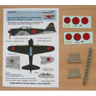 "Air-to-air bombs for A6M2 (Type 99 No.3 Mk.3 incendiary bombs) - 10 pcs + decals ""61-180"" (1:72)"