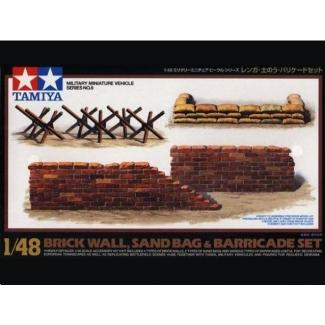 Brick Wall, Sand Bag & Barricade Set (1:48)