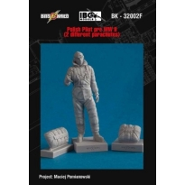 Pre WWII Polish Pilot figure with 2 different parachutes (1:32)