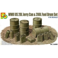WWII US 20L Jerry Can & 200L Fuel Drum Set (1:16)