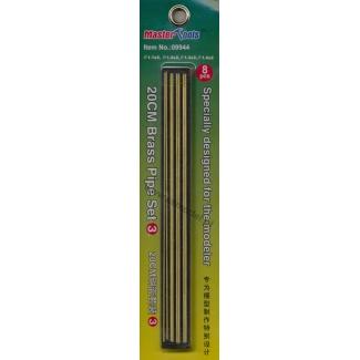 20 cm Brass Pipe Set.3 (2 x 1,1; 2 x 1,2; 2 x 1,3; 2 x 1,4)