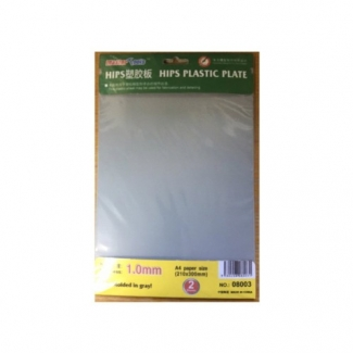 1,0 mm HIPS plastic sheet A4 x 2 pcs